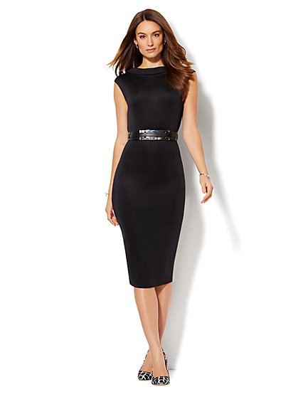 Midi Scuba Funnel-Neck Sheath Dress - Solid  - New York & Company