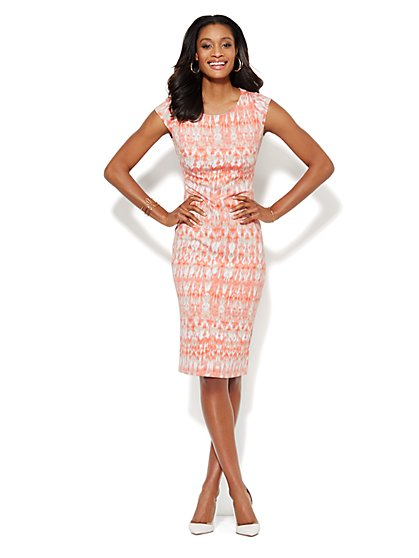 Midi Scuba Sheath Dress - Abstract Print  - New York & Company