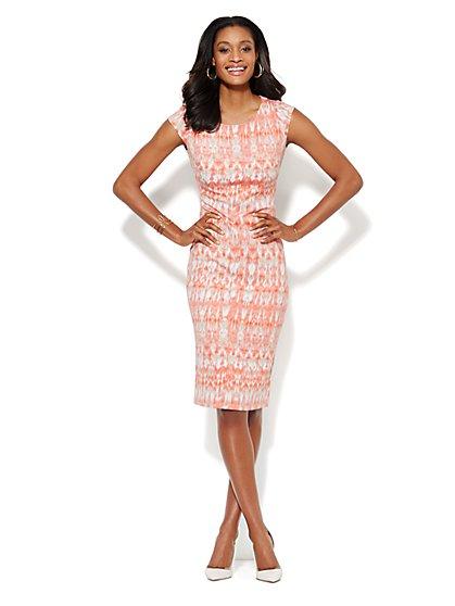 Midi Scuba Sheath Dress - Abstract Print  - New York & Company