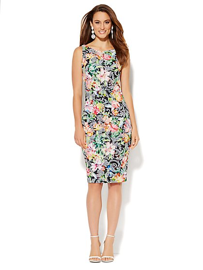 Midi Scuba Sheath Dress - Floral Jacquard - New York & Company