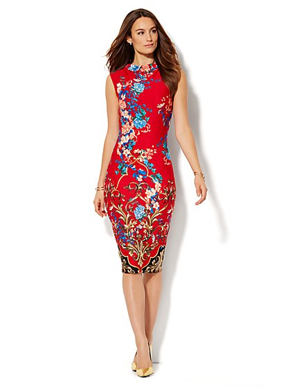 Midi Scuba Sheath Dress - Floral - Petite  - New York & Company
