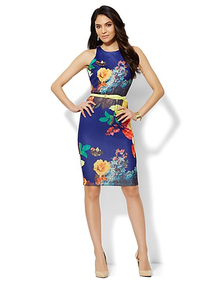 Midi Scuba Sheath Dress - Floral Print - New York & Company