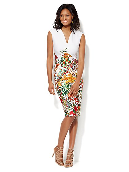 Midi Scuba Sheath Dress - Floral  - New York & Company