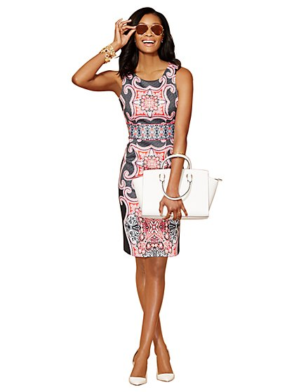 Midi Scuba Sheath Dress - Medallion Print  - New York & Company
