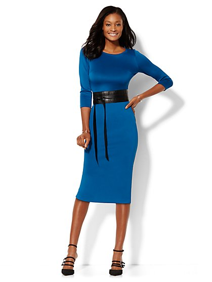 Midi Scuba Sheath Dress - Petite  - New York & Company