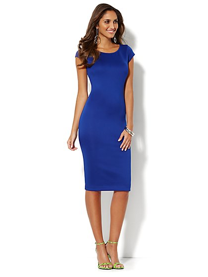 Midi Scuba Sheath Dress - New York & Company