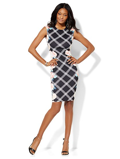 Midi Sheath Dress - Floral/Linear Print  - New York & Company