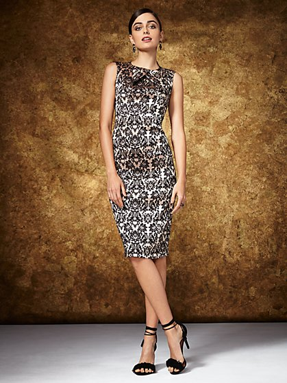 Midi Sheath Dress - Jacquard - New York & Company