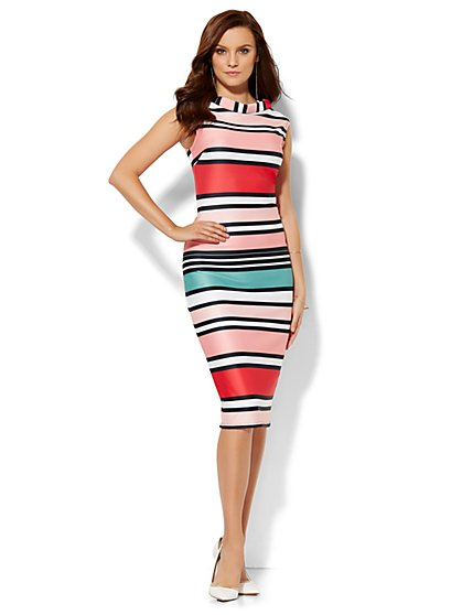 Midi Sheath Dress - Stripe  - New York & Company
