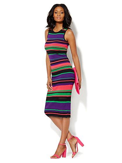Midi Sweater Sheath Dress - Stripe  - New York & Company