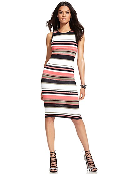 Midi Sweater Sheath Dress - Stripe  - New York & Company