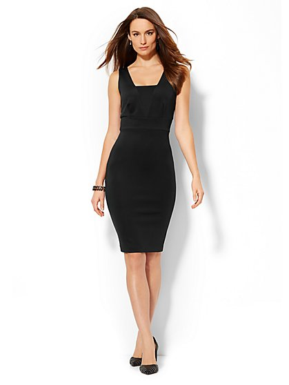 Midi V-Neck Scuba Dress  - New York & Company