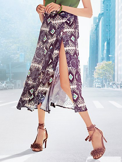 Midi Wrap Skirt - Floral & Print  - New York & Company