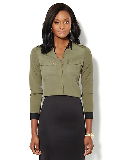 Military Contrast-Trim Shirt - New York & Company