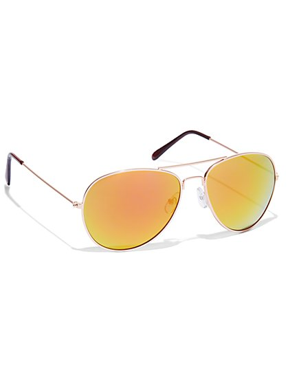 Mirrored Aviator Sunglasses  - New York & Company
