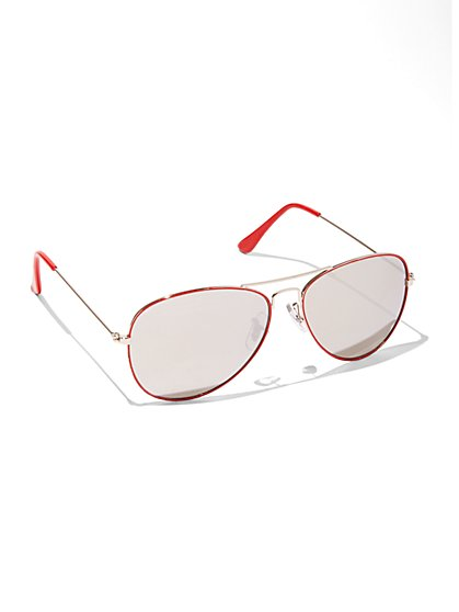 Mirrored-Lens Aviator Sunglasses  - New York & Company