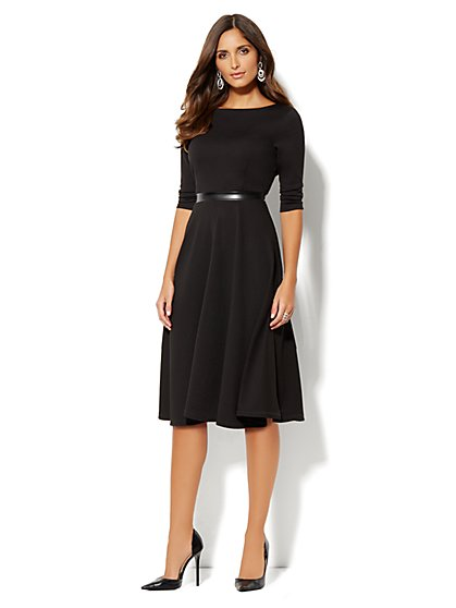 Mix-Knit Midi Flare Dress - New York & Company