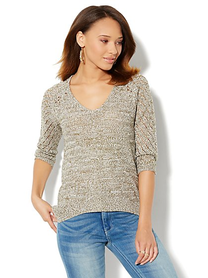 Mix-Knit Tunic Sweater - Marled - New York & Company