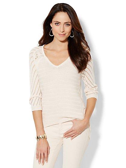 Mix-Knit Tunic Sweater - Marled - New York & Company