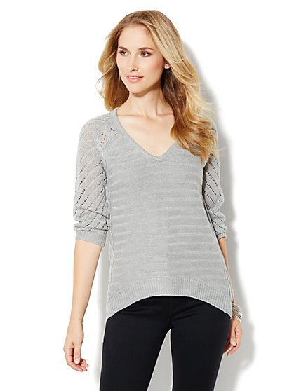 Mix-Knit Tunic Sweater - Metallic - New York & Company