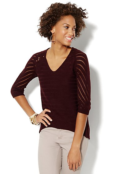 Mix-Knit Tunic Sweater - New York & Company