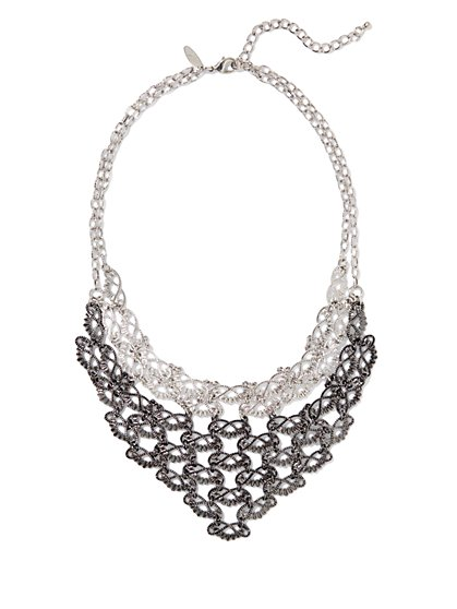 Mix-Metal Lace Bib Necklace - New York & Company