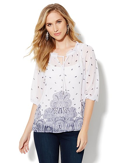 Mix-Print Smocked Peasant Blouse - New York & Company