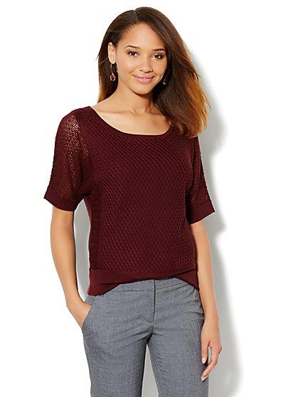 Mix Stitch Dolman-Sleeve Sweater - New York & Company