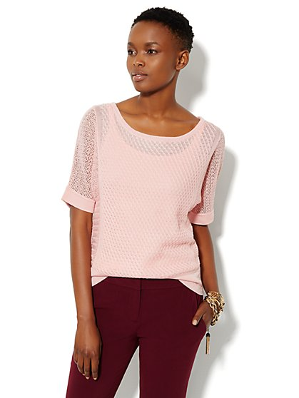 Mix Stitch Dolman-Sleeve Sweater - New York & Company