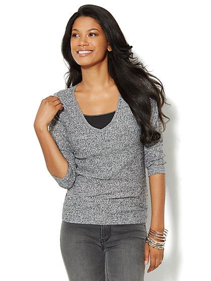 Mix-Stitch Marled Sweater - New York & Company