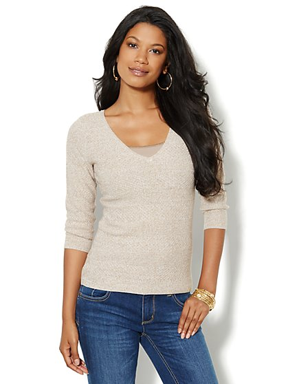 Mix-Stitch Marled Sweater - New York & Company