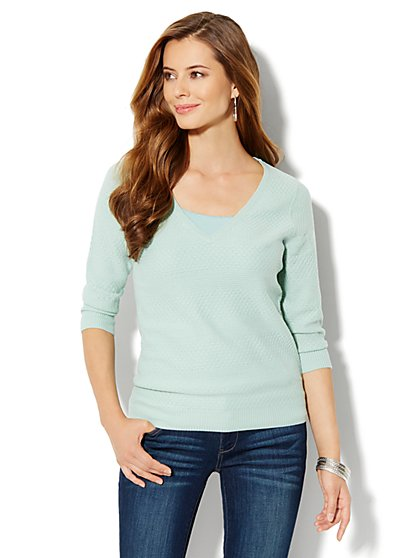 Mix-Stitch V-Neck Sweater - New York & Company