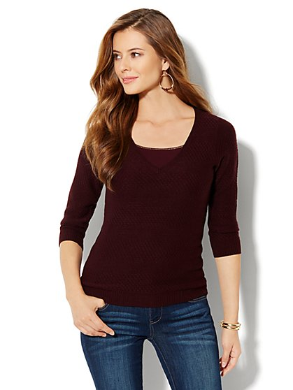 Mix-Stitch V-Neck Sweater - New York & Company