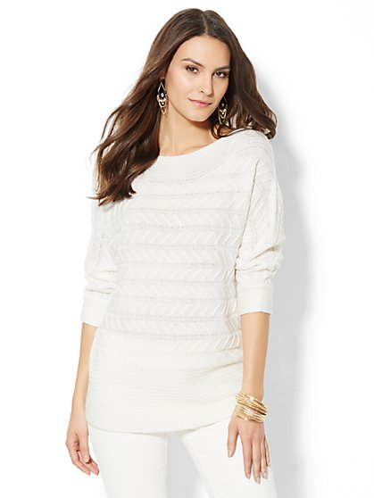 Mixed-Cable Bateau Tunic Sweater – Winter White - New York & Company