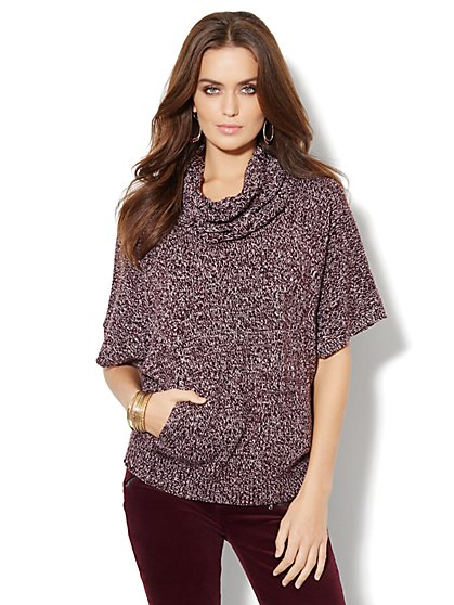 Mixed Cable Dolman Sleeve Pullover - Marled - New York & Company