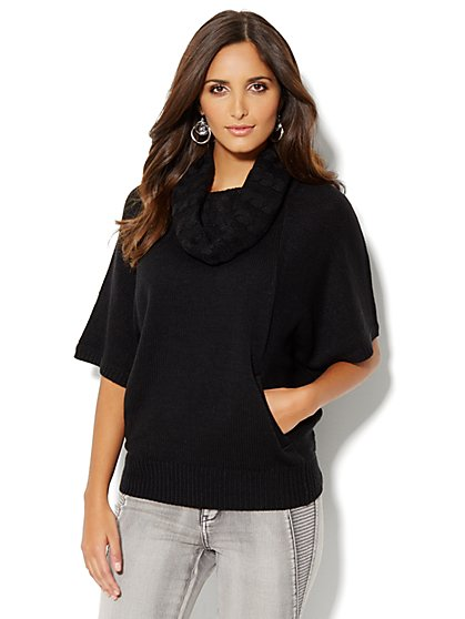 Mixed Cable Dolman Sleeve Pullover - New York & Company