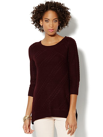 Mixed-Cable Hi-Lo Pullover Sweater  - New York & Company