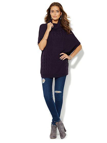 Mixed-Cable Knit Poncho  - New York & Company