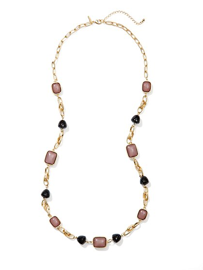 Mixed-Cabochons Long Necklace