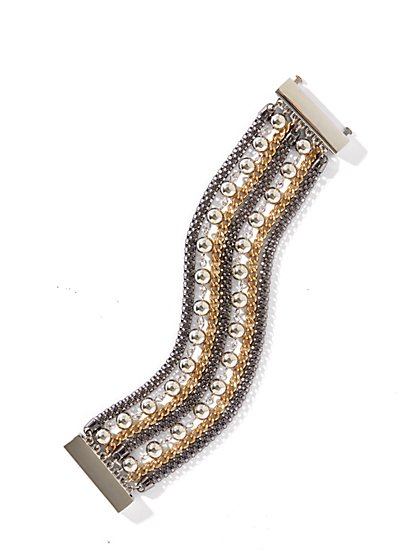 Mixed-Chain Beaded Bracelet - New York & Company