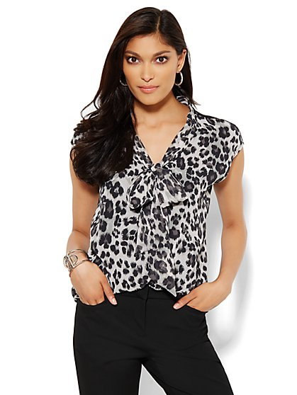 Mixed-Fabric Bow Detail Top - Leopard  - New York & Company