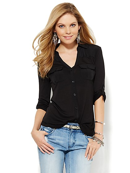 Mixed-Fabric Button-Front Shirt  - New York & Company
