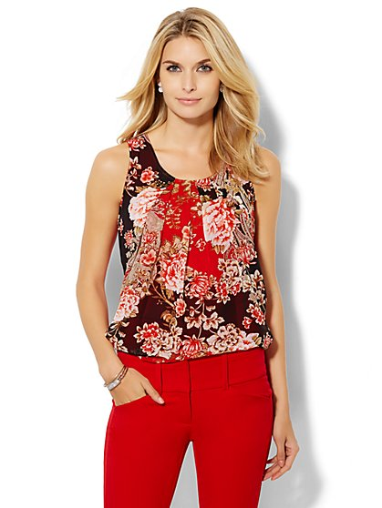 Mixed-Fabric Camisole - Floral  - New York & Company