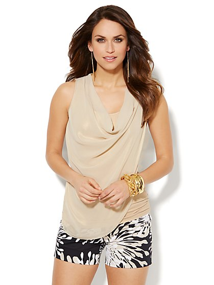 Mixed-Fabric Cowlneck Top  - New York & Company