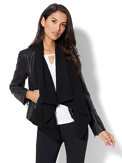 Mixed Fabric Draped Jacket - New York & Company
