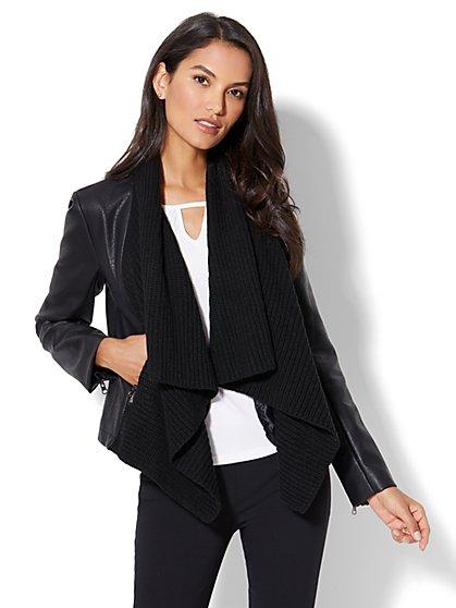 Mixed Fabric Draped Jacket - New York & Company