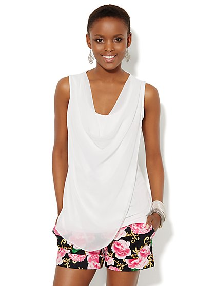 Mixed-Fabric Draped Top - Solid  - New York & Company