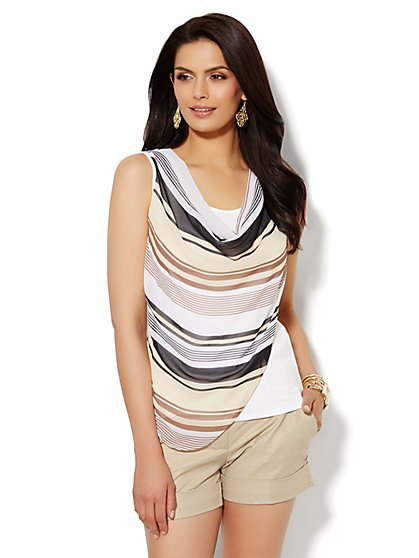 Mixed-Fabric Draped Top - Striped  - New York & Company