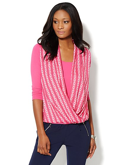 Mixed-Fabric Faux-Wrap Top - Link Print - New York & Company