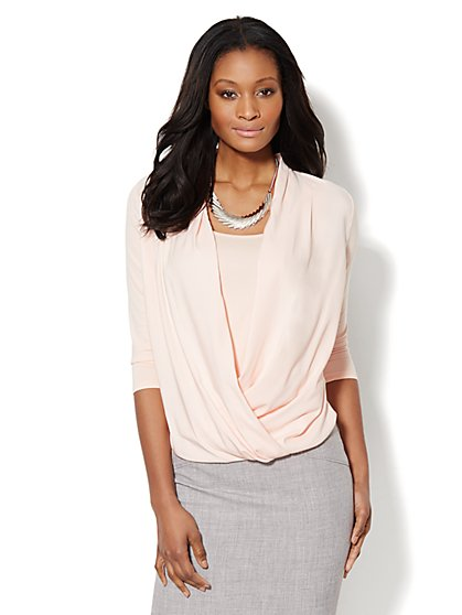 Mixed-Fabric Faux-Wrap Top - Solid  - New York & Company